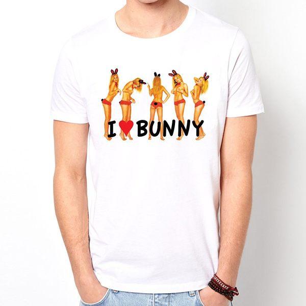 I Love Bunny短袖T恤-白色 趣味幽默設計插畫裸女潮流情色KUSO樂團玩翻