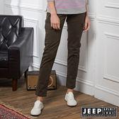 【JEEP】女裝 修身造型貼布口袋長褲 (橄欖綠)