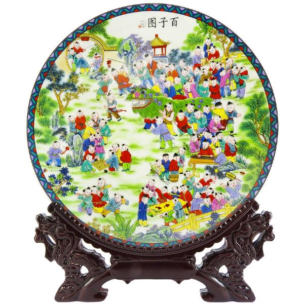 【吉祥開運坊】【瓷盤百子圖 景德鎮製作 含木架 增加人氣 求子 】開光 擇日