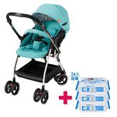 【送貝恩嬰兒柔濕巾一箱】Aprica愛普力卡 Optia新視野 四輪自動定位導向型嬰幼兒手推車(哈潑綠)