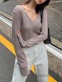 EKOOL針織v領長袖t恤女2019秋裝新款韓版寬鬆純色百搭上衣打底衫 後街五號