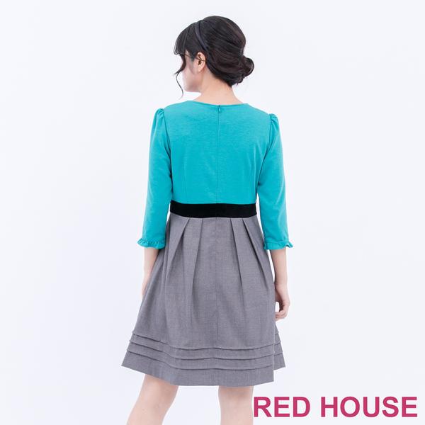 RED HOUSE-蕾赫斯-蝴蝶結拼色洋裝(湖水綠)