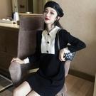 洋裝 新款複古甜美POLO領顯瘦撞色針織洋裝女秋冬休閒打底裙長袖短裙