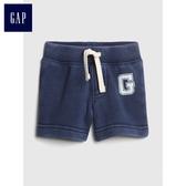 Gap男嬰兒 Logo鬆緊腰抽繩短褲 418504-海軍淺藍