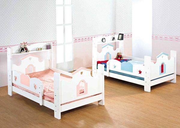 【森可家居】愛丁堡藍色書架單人床 7JX59-3 兒童 單人床組 童話城堡國王風
