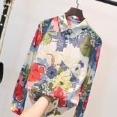 長袖棉麻上衣 印花襯衫女復古港味秋季韓版時尚寬鬆顯瘦洋氣棉麻碎花上衣女長袖 童趣屋