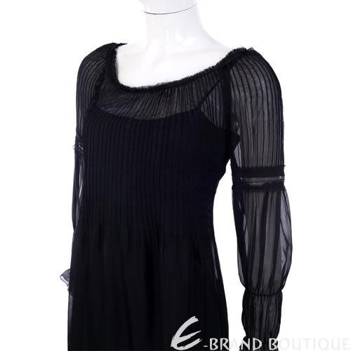PHILOSOPHY 黑色抓折紗質七分袖洋裝 0920364-01