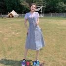 牛仔洋裝 短袖洋裝2021年女學生夏季中長款牛仔背帶連身裙氣質減齡過膝顯瘦牛仔裙潮 寶貝計畫