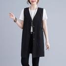 棉麻中長版顯瘦西裝背心-大尺碼 獨具衣格 J3722
