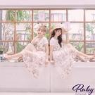 洋裝 印花網紗兩件式短袖長洋裝-Ruby...