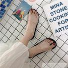 透明chic網紅同款拖鞋女夏時尚外穿學生韓版百搭平底涼拖鞋 韓慕精品