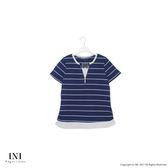 【INI】自然有型、簡單穿搭領口造型條紋上衣.深藍色