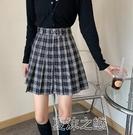 百褶裙女 季新款包臀短裙高腰顯瘦格子a字裙子時尚百褶半身裙女 快速出貨