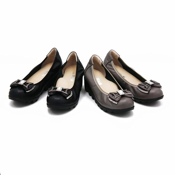 W&M 金屬蝴蝶結素面厚底娃娃鞋-黑(另有灰)