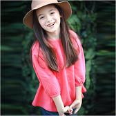 長袖上衣 素色 燈籠袖 內刷毛 女童 T恤 Augelute 47098