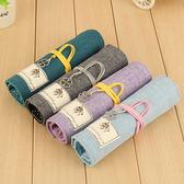韓國風格創意田園時尚麻布捲簾筆袋皮革學生鉛筆文具盒     易家樂