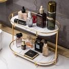 化妝品收納盒 梳妝台桌面雙層旋轉衛生間浴室護膚品置物架(聖誕新品)