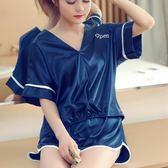 睡衣女夏季短袖兩件套裝薄款韓版清新可愛性感家居服夏天 LH1595【3C環球數位館】