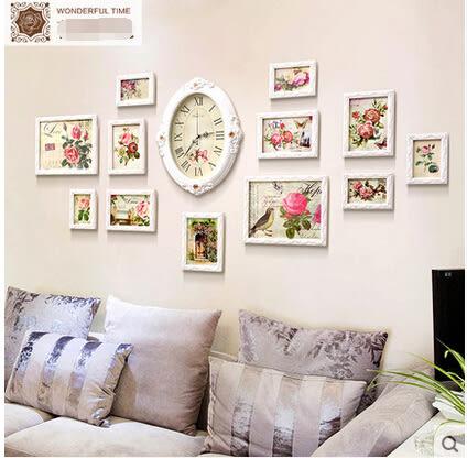 歐式掛鐘實木照片牆創意鐘錶相框牆客廳臥室組合相片牆[北歐時光]
