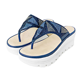 MICHELLE PARK 輕時刻 ‧ 小水鑽氣墊厚底夾趾涼鞋-藍