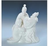 桃園三結義人物瓷雕像擺件
