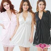 性感睡衣 白/黑/紫/粉/玫紅 深V蕾絲緞面性感兩件式外罩睡衣組 天使甜心Angel Honey