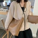 上新包包女新款韓版簡約單肩子母包百搭大容量學生水桶斜背包