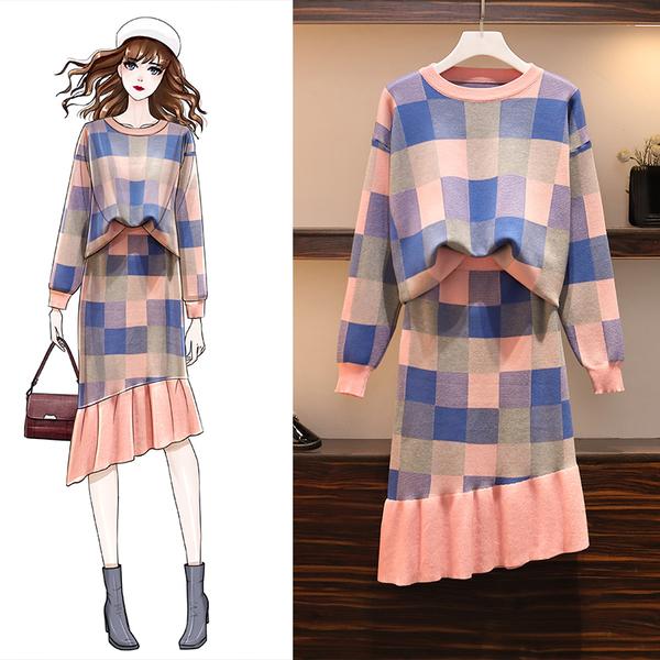 VK旗艦店 韓國風復古格紋時尚針織套裝長袖裙裝