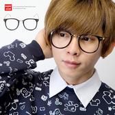 復古金色鏡架Mix大方膠框平光眼鏡【N9343J】