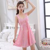 睡裙女夏季吊帶睡衣女性感冰絲綢長版可外穿正韓清新學生蕾絲寬鬆
