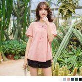 《AB2512》高棉量素色繡線綁帶造型開衩領寬鬆上衣.6色 OrangeBear