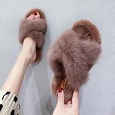 拖鞋女2019秋季新款時尚外穿毛毛鞋百搭韓版學生一字平底chic半拖 金曼麗莎