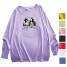EASON SHOP(GW8247)實拍純棉糖果色系卡通人像印花落肩寬鬆長袖素色棉T恤女上衣服大尺碼打底內搭衫紫