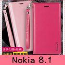 【萌萌噠】諾基亞 Nokia 8.1 韓曼 真皮側翻皮套 全包軟邊 矽膠軟殼 插卡 掛繩 手機套 手機殼 皮套