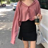 Polo衫早秋chic長袖T恤女慵懶風polo衫寬鬆純色泫雅開衫洋氣上衣服春季特賣