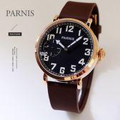 【完全計時】手錶館│PARNIS 軍錶風格 玫瑰金飛行款 手上鍊機械錶 矽膠帶 父親節 PA3083 現貨