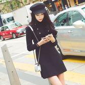 長袖洋裝-黑色圓領針織修身女連身裙73pu18[巴黎精品]