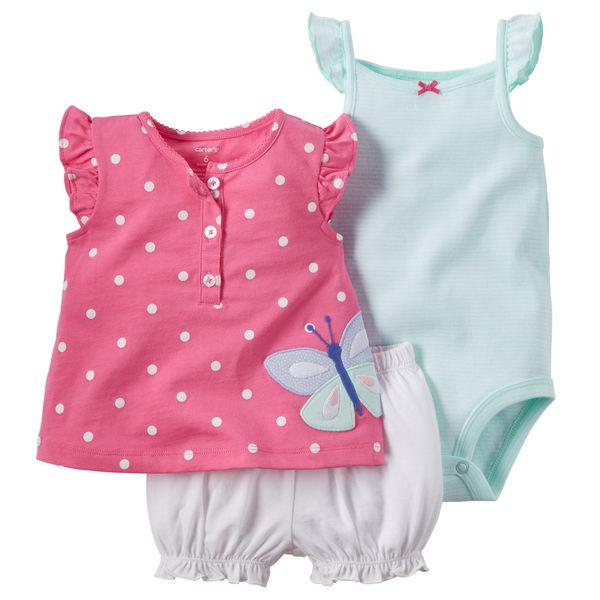 【美國Carter's】套裝三件組 - 點點蝴蝶短袖純棉上衣+短褲+包屁衣 121G384