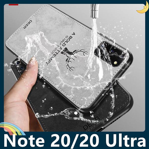 三星 Galaxy Note20 Ultra 麋鹿布紋保護套 軟殼 浮雕壓紋 牛仔絨布 可水洗 可掛繩 手機套 手機殼