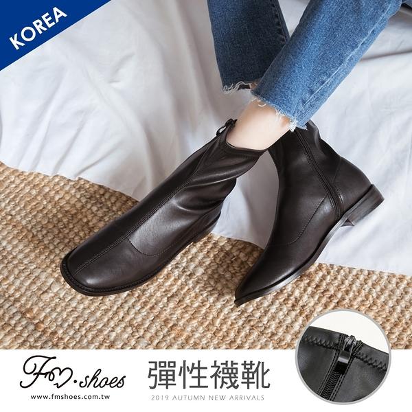 靴.韓-側拉鍊方頭彈性襪靴-FM時尚美鞋-韓國精選.Subtle