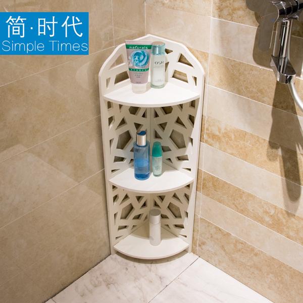 衛生間浴室置物架廁所收納免打孔三角架洗漱台落地轉角架子 都市韓衣