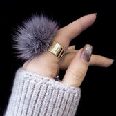 水貂毛毛球戒指開口指環食指時尚個性尾戒日韓潮人飾品配飾女