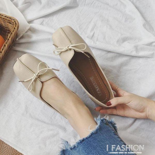 春夏季2018新款奶奶鞋女韓版平底百搭方頭淺口蝴蝶結豆豆鞋單鞋子·Ifashion