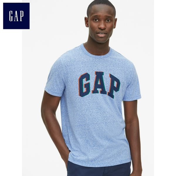 Gap男裝 Logo印花短袖休閒T恤 441459-淺藍