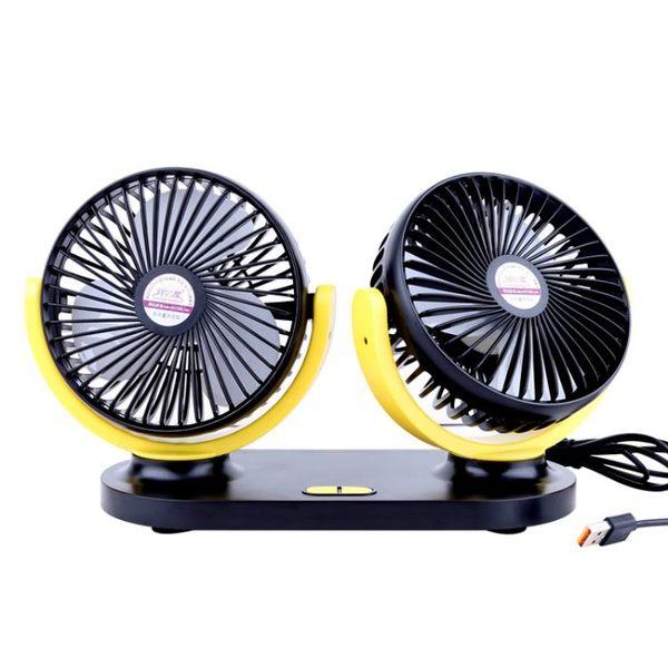 車載小風扇 USB車載風扇車用雙頭12V24v面包車小貨車內強力大風力汽車電風扇【美物居家館】