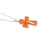 天然紅東菱玉復古十字架吊墜純銀項鍊