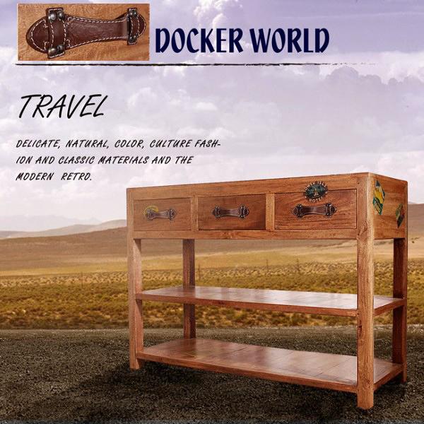[客尊屋][免運費]典尚古風/Docker World- Dobw Console Table 三抽置物櫃/電腦桌/書桌