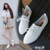 韓版小白鞋女百搭夏女鞋系帶小皮鞋牛津鞋休閒鞋透氣平底平跟單鞋  9號潮人館