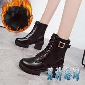 馬丁靴女英倫風裸靴子女短靴粗跟中筒靴韓版百搭高跟女靴冬季女鞋 JY14549『男神港灣』