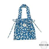 藍色小雛菊單肩包帆布包包購物袋學生書包女【時尚大衣櫥】
